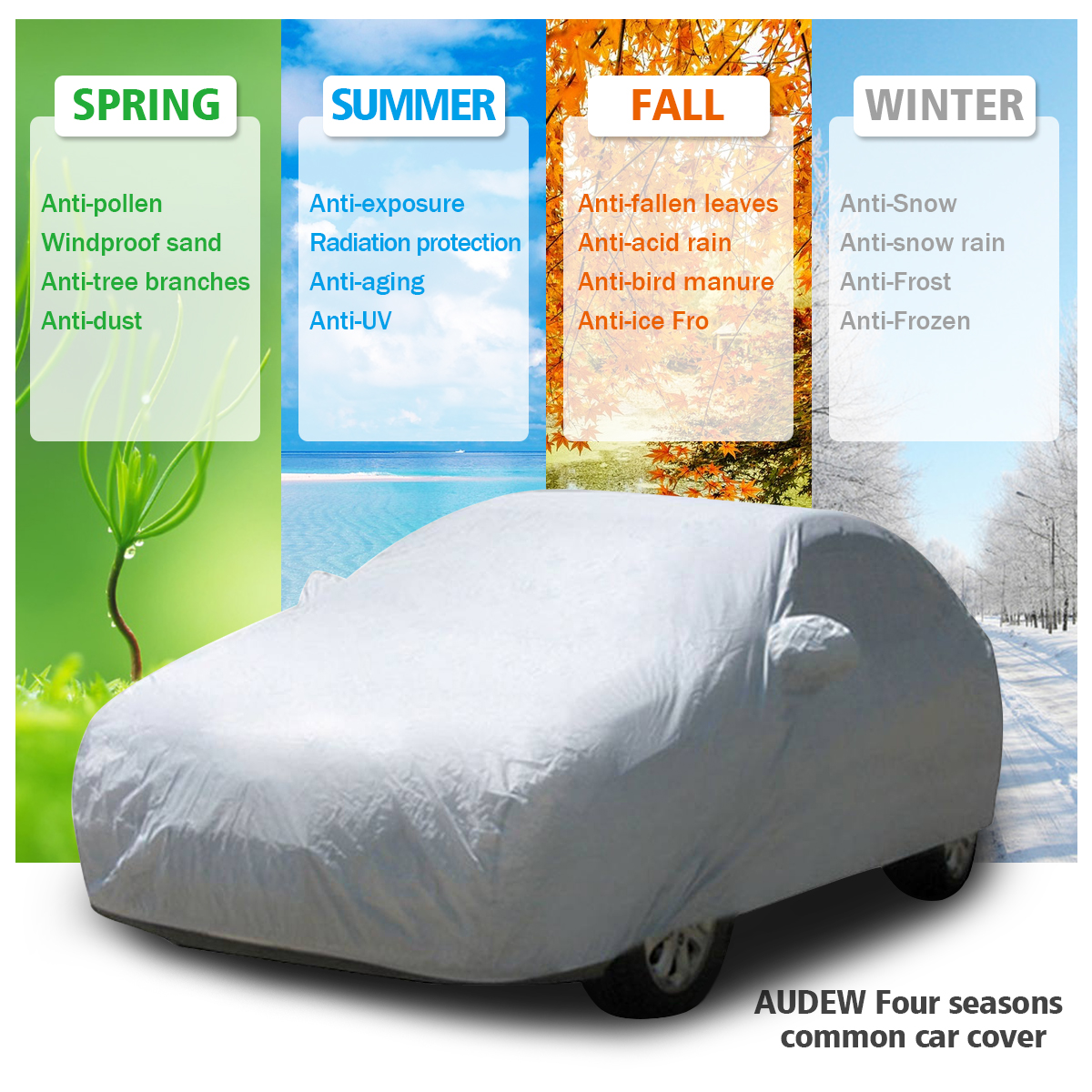 AUDEW Waterproof Car Cover UV Snow Dust Rain Wind Resistant Protection Full Car Cover For SUV