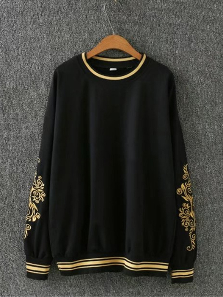 Casual Women Black White Embroidery Sweatshirts