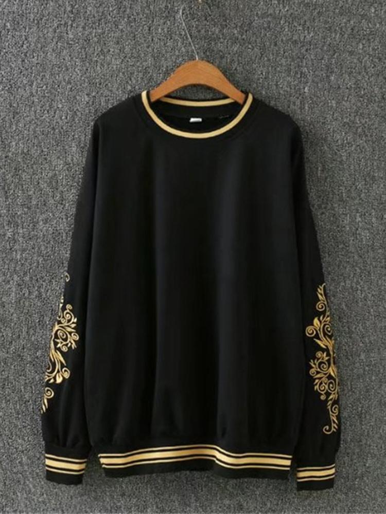 Casual Women Black White Embroidery Sweatshirts