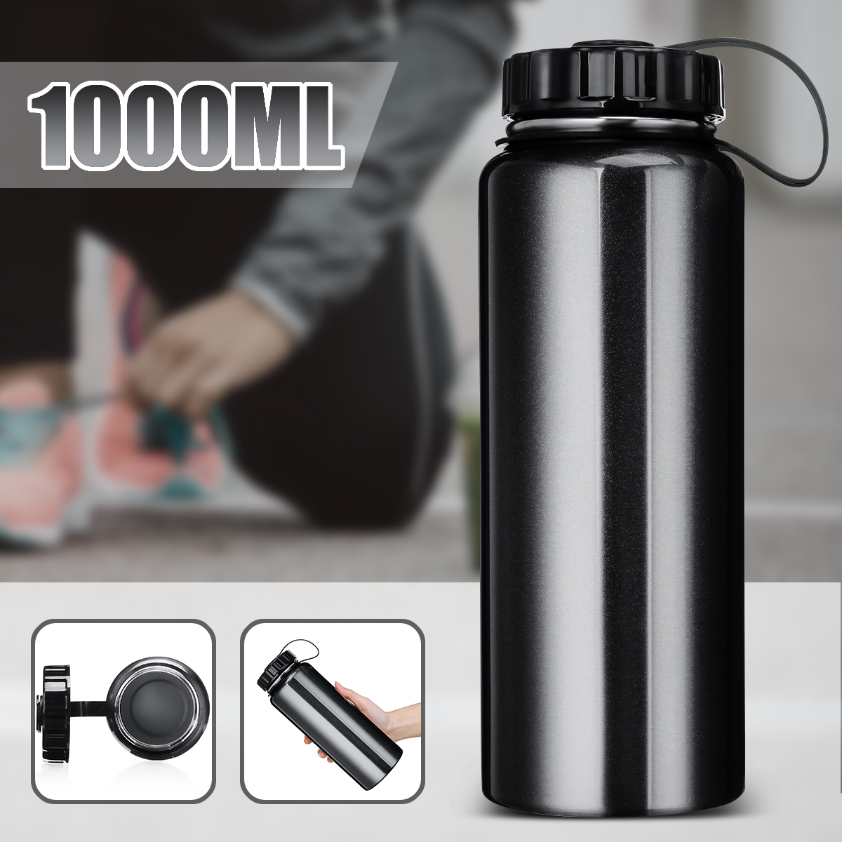 1L Insulated Vacuum Wide Mouth Drink Water Bottle Outdoor Travel Camp Gift