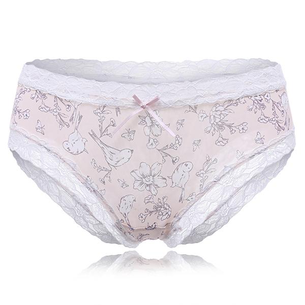 Ice Silk Lace-tirm Printing Mid Waist Panties