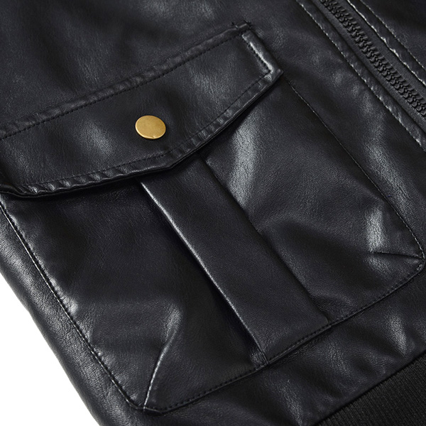Military Style Faux Leather Zipper Big Pockets PU Jacket for