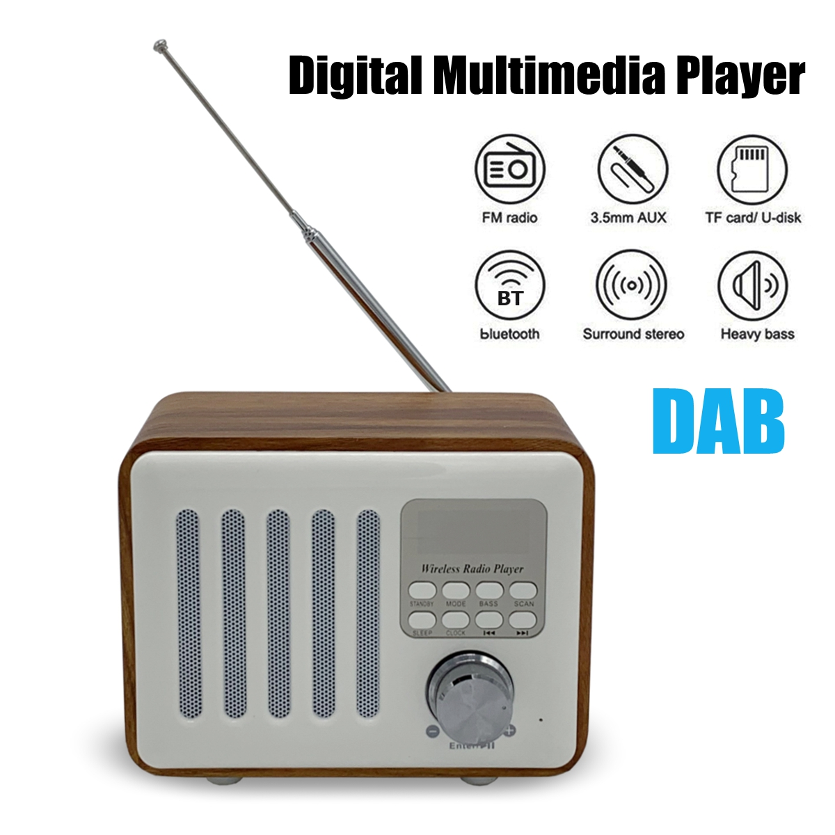 DAB Digital FM Radio bluetooth Heavy Bass Stereo Speaker TF Card U Disk AUX MP3 Music Payer