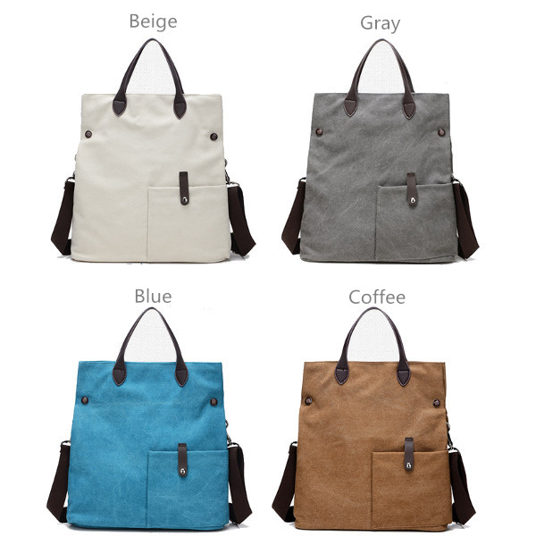 Women Front Pockets Canvas Tote Bags Casual Big Shoulder Bags Capacity Shopping Crossbody Bags