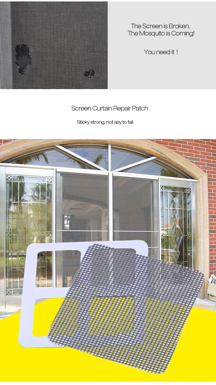 3Pcs Home Curtain Screens Repair Patch Anti-mosquito Screen With Double Sided Adhesive