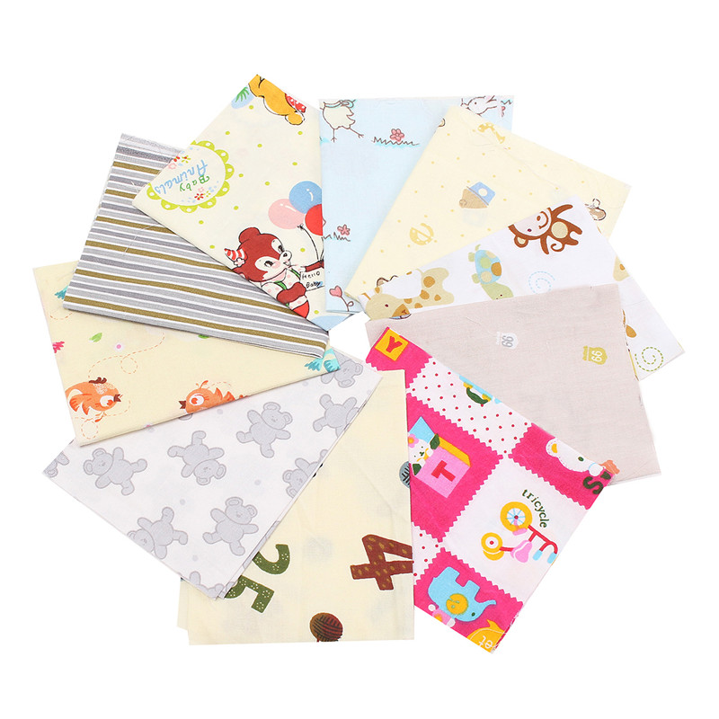 10PCS DIY Cute Cartoon Pattern Cotton Material Vintage Shabby Chic Summer Cloth Colors