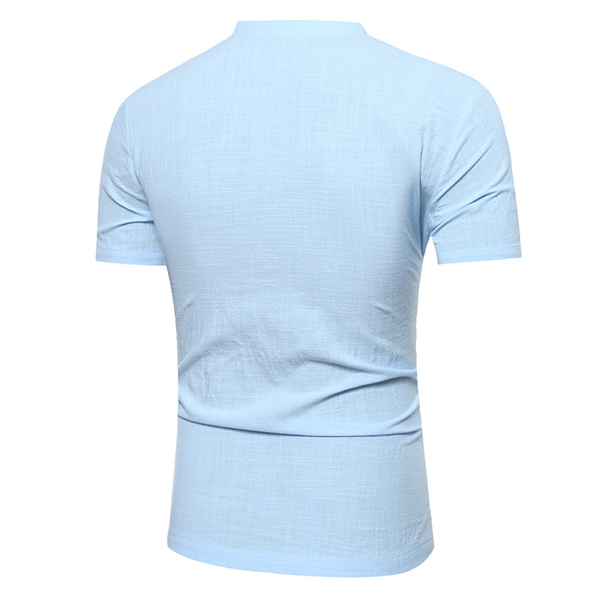 Summer Cotton Linen V-shape Neck T-shirts Personality Men's Solid Color Short Sleeve Tees