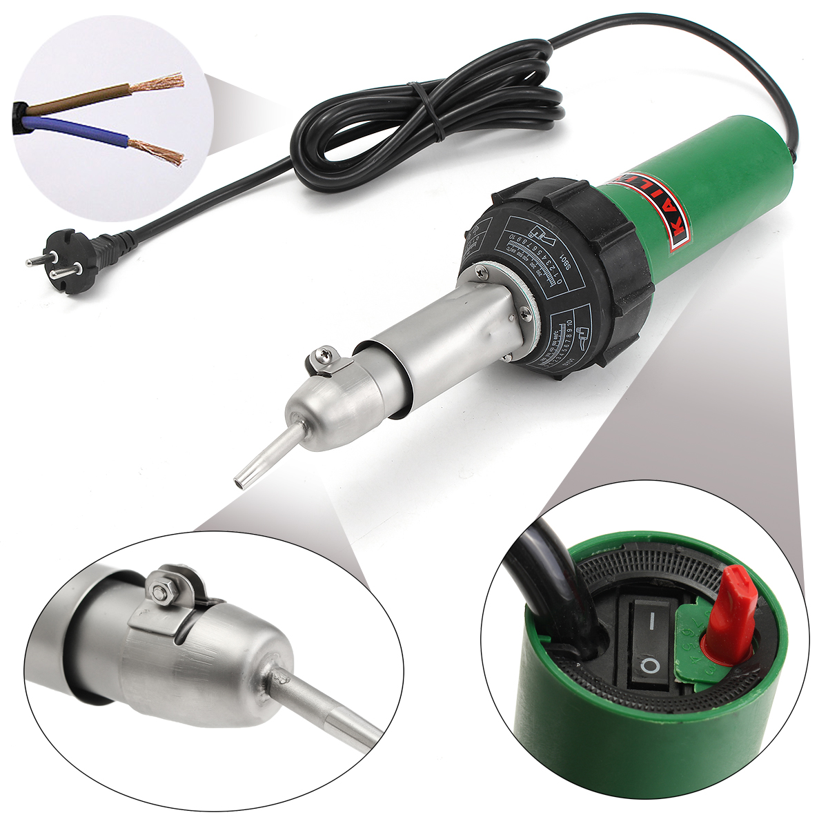 1500W Plastic Welding Tool W/ 2 Speed Welding Nozzle And 1 HE Roller Hot Air Welding Torch Kits