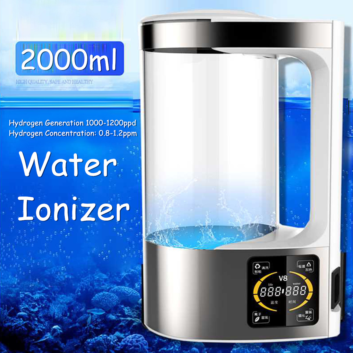 2L 350W Healthy Anti-aging Rich Alkaline Water Ionizer Maker Generator Bottles Pitcher Kettles