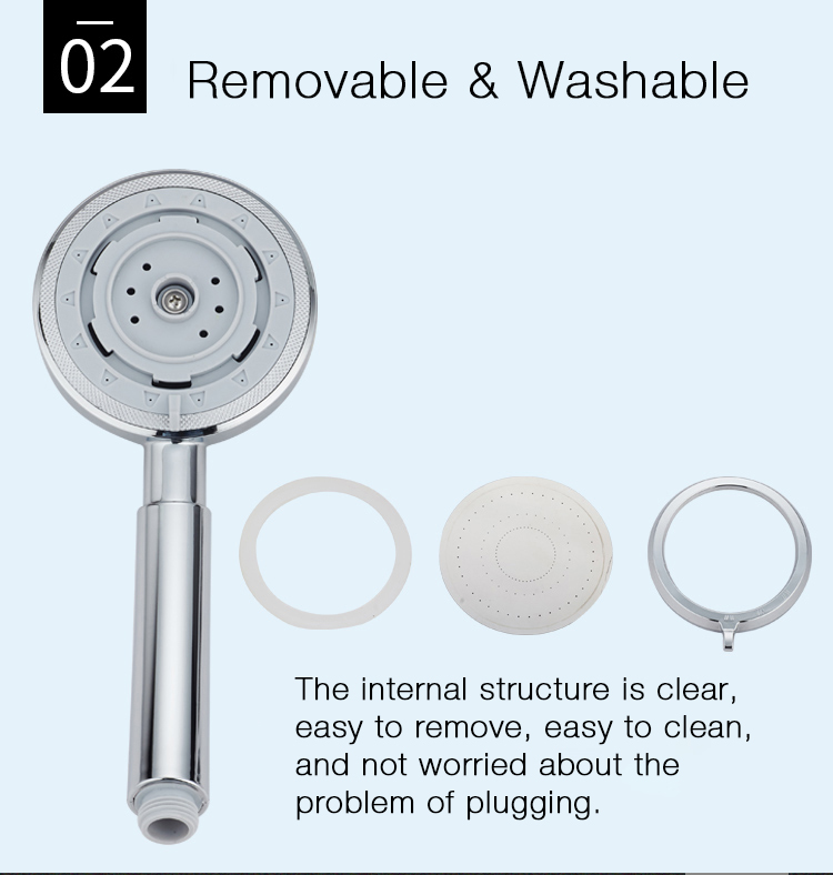 KCASA KC-SH429 Handheld Adjustable Shower Head 3 Mode SPA Pressurize Filtered Bathroom Shower Head