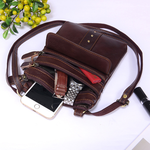 Genuine Leather Multi-pocket Shoulder Bag For Men