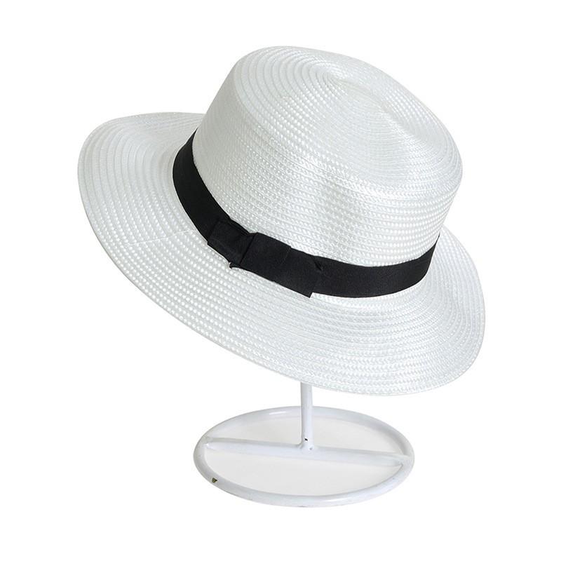 Unisex Men Women Straw Fedora Hat Trilby Bowknot Panama Summer Jazz Beach Sun Cap