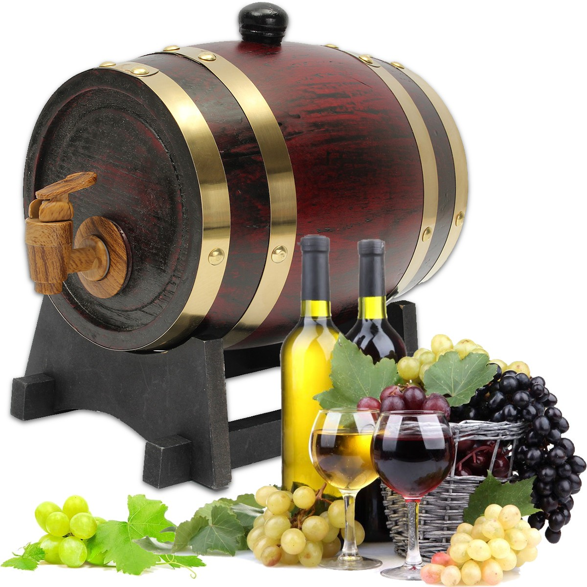 1.5L Oak Wine Barrel Wooden Keg with Spigot for Wine Beer Alcohol