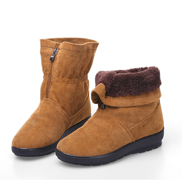 US Size 5-11 Zipper Corduroy Round Toe Artifiical Fur Snow Boots