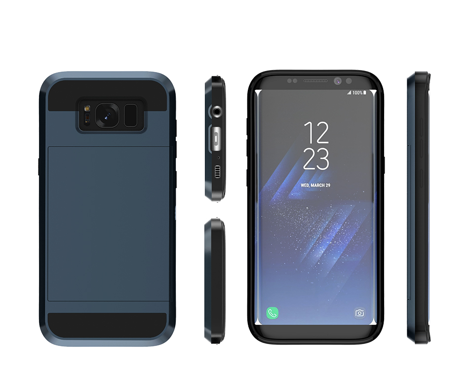 Bakeey™ Glide Armor Credit Card Slot Holder Hybrid PC+TPU Shockproof Case for Samsung Galaxy S8