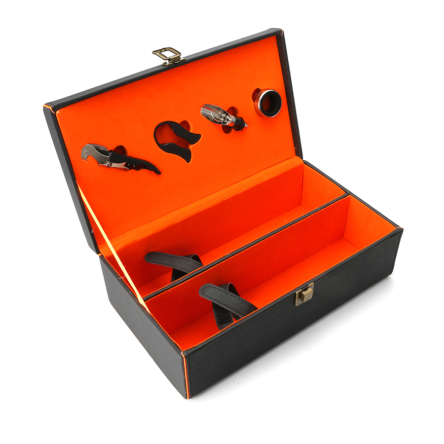 KCASA KC-WG02 Large Weeding Leathern Wine Bottle Gift Box Set With Corkscrew Pourer Collar Cutter