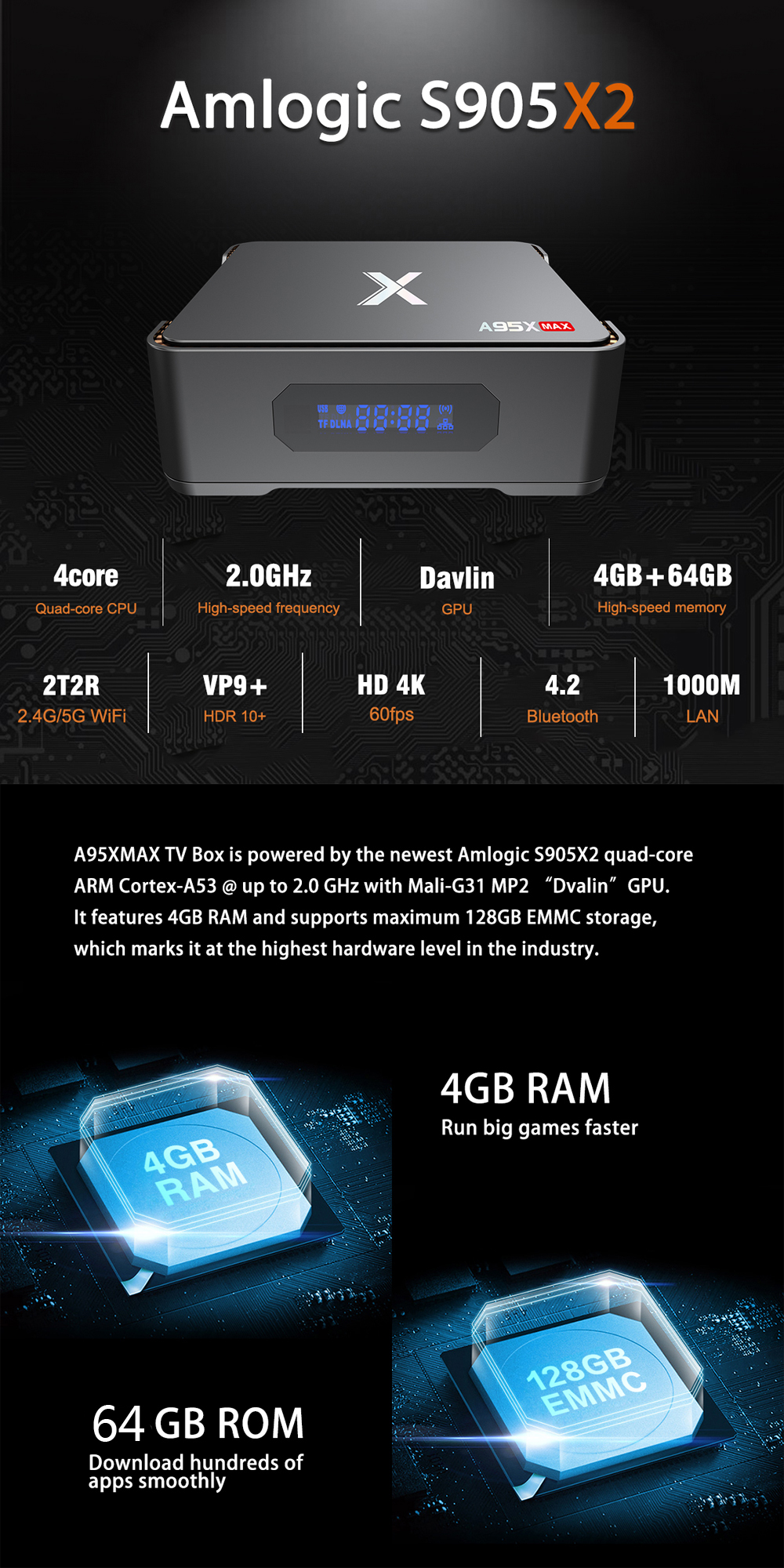 A95X Max S905X2 4GB RAM 64GB ROM 1000M LAN 2.4G 5G WIFI bluetooth 4.2 Android 8.1 4K USB3.0 H.265 VP9 TV Box Mini PC Support SATA 2.5 Inch HDD Video Recording