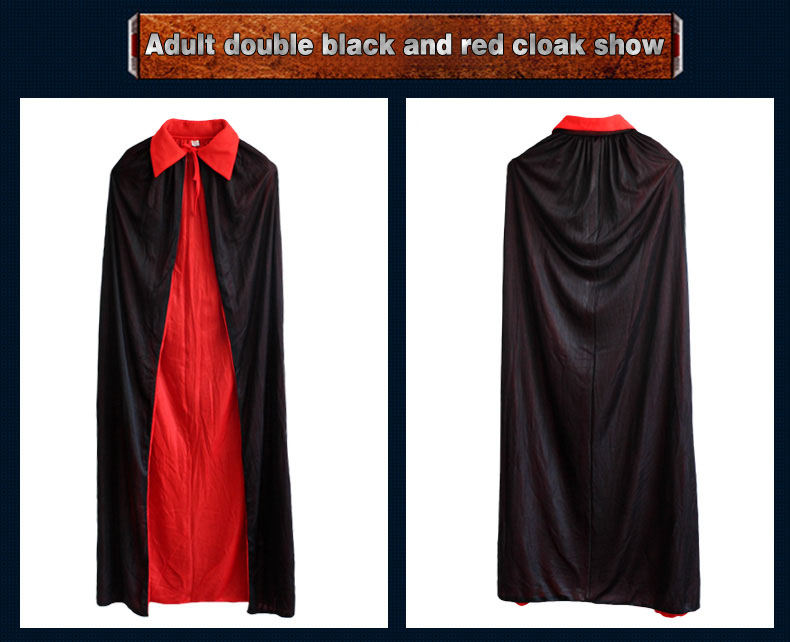 Halloween Collar Black And Red Cloak Witch Cloak Vampire Cloak Double Cloak Death God Devil
