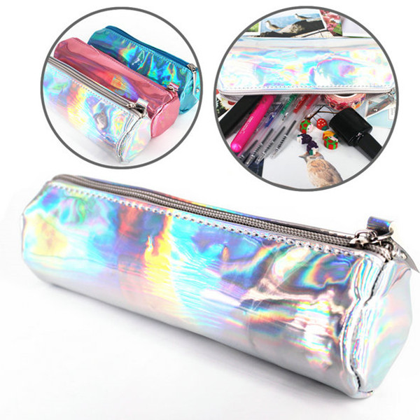 Fashion PU Laser Pencils Bags Cute Pencil Case Makeup Pouch Durable Large Capacity School Supplies