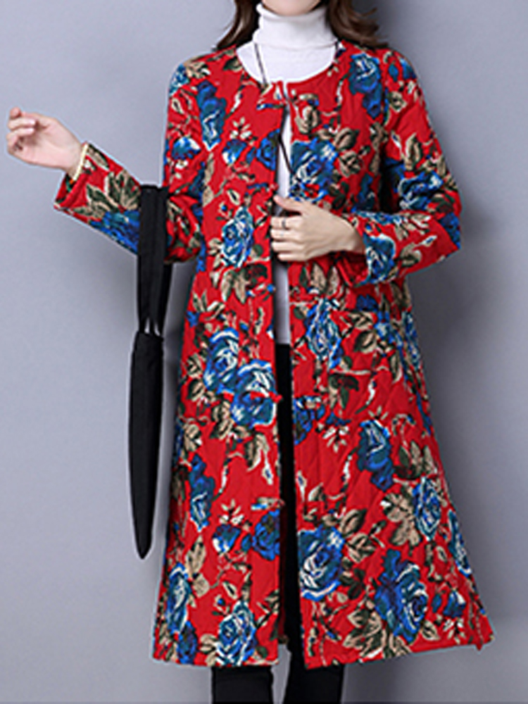 Vintage Floral Print Thickening Cotton Padded Women Long Coat