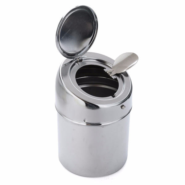 Stainless Steel Silver Portable Cigarette Smoke Cigar Ashtray