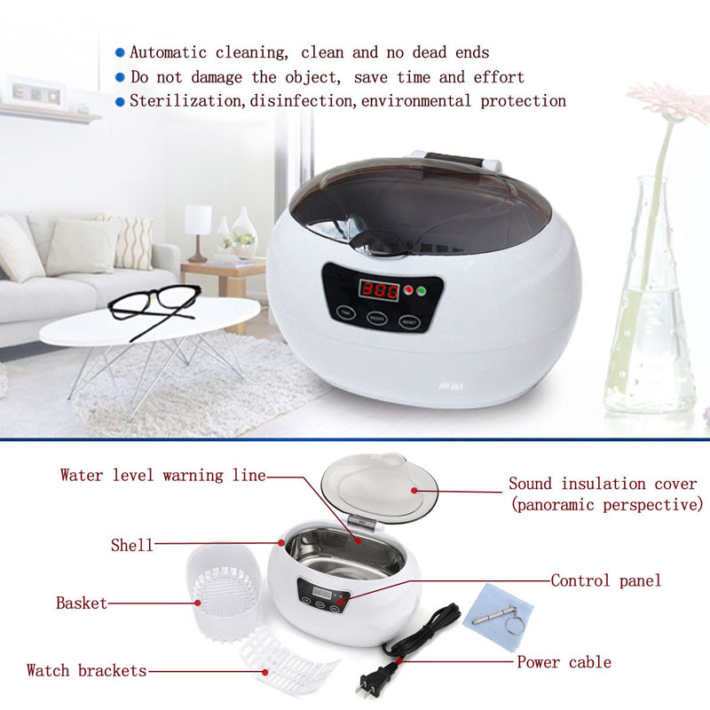 JP-890 Digital Ultrasonic Cleaner Cleaning Machine Basket Jewelry Watches Dental 0.6L 35W 42kHz Ultrasound Cleaner