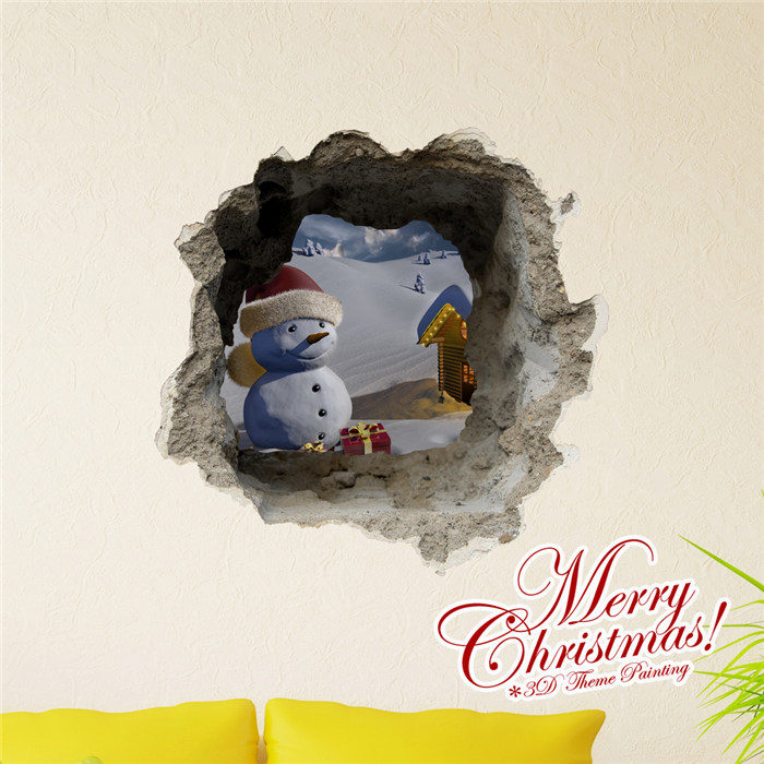 3D Christmas Snowman Snowfield PAG STICKER Wall Decals Sticker Home Wall Decor Gift