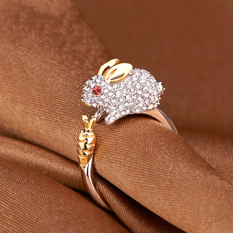 Cute Chinese Zodiac Gold Animals Rhinestones Adjustable Ring