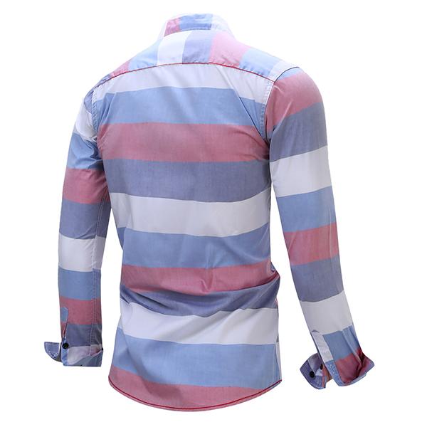 Stripe Splicing Color Casual Long Sleeve Cotton Men Dress Shirts
