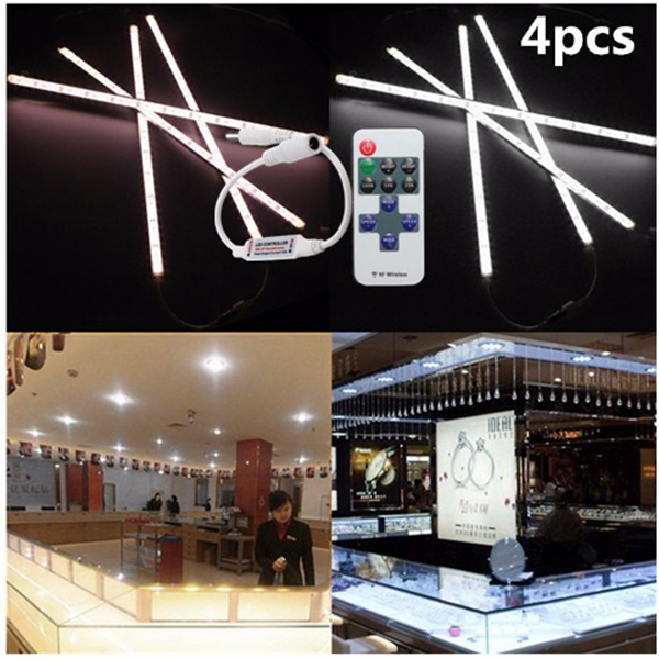 4 x 9W 5630 LED Rigid Strip Light Bar Waterproof White/Warm Car Cabinet Lamp + Remote Dimmer DC 12V