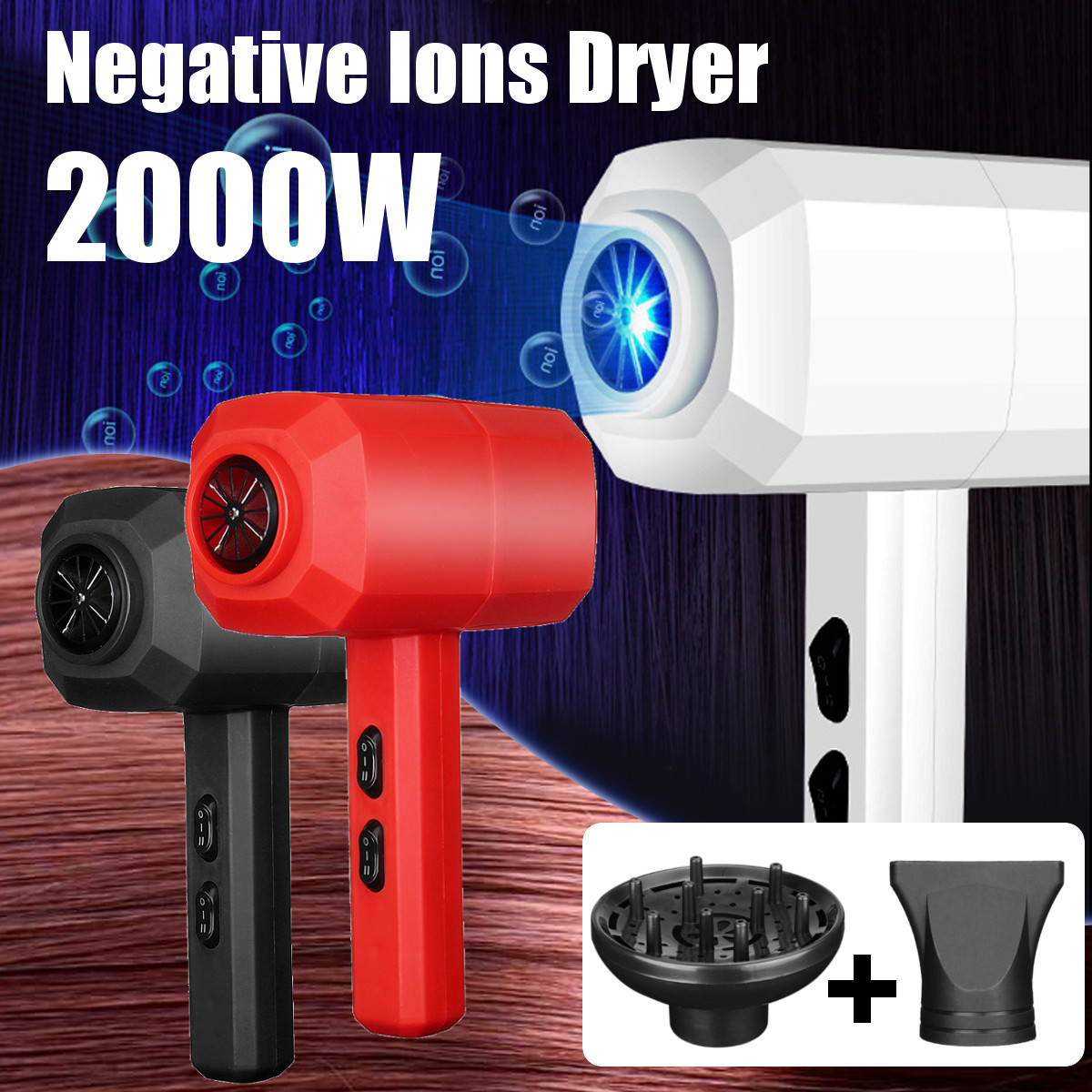 2000W Negative Ion Dryer Hair Dryer Flat Round Mouth Electric Hair Dryer Blower
