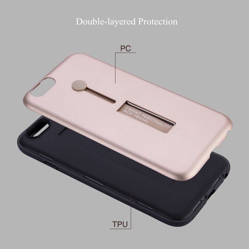 Bakeey Built-in Kickstand Strap Grip PC+TPU Protective Case For iPhone 6 Plus & 6s Plus