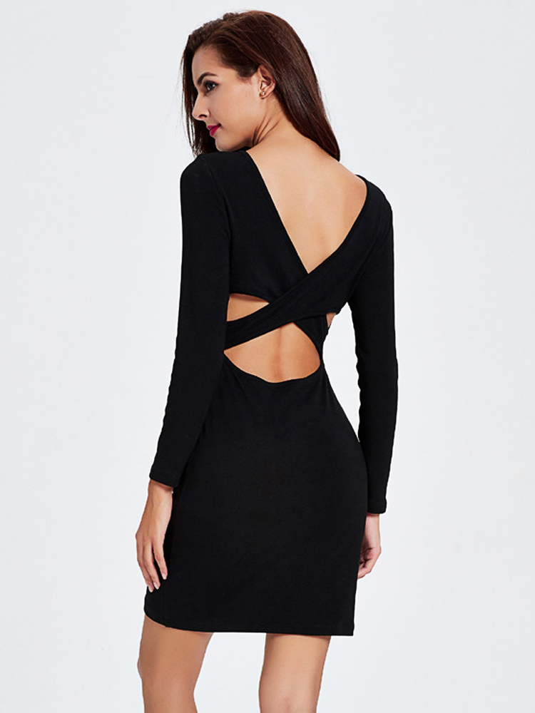 Women Sexy Solid Hollow Out Long Sleeve Slim Bandage Dress