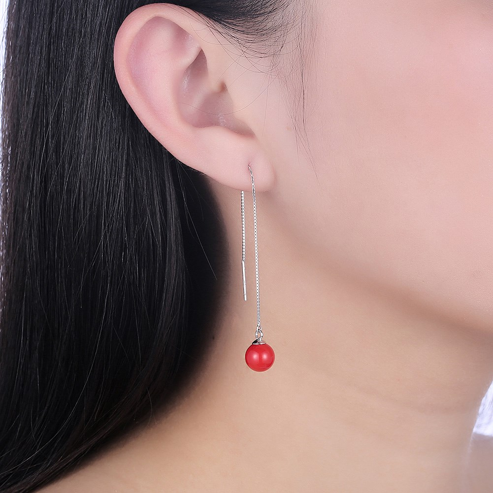 INALIS S925 Sterling Silver Lucky Red Bead Pendant Earrings