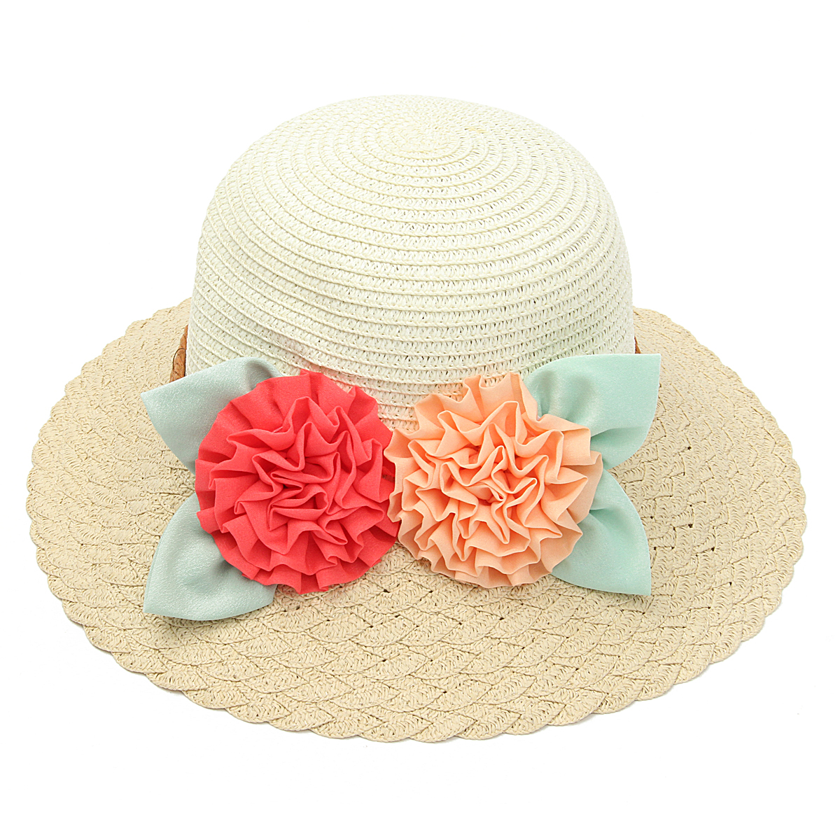 Women Girls Straw Floral Summer Fedora Trilby Hat Sun Floppy Beauty Beach Cap