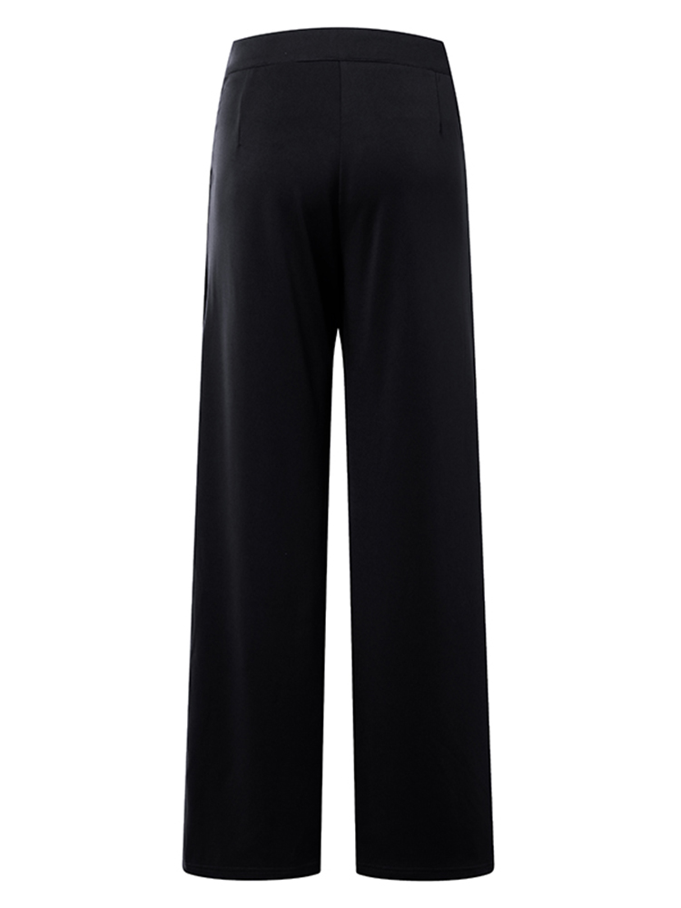 Plus Size Work Style Solid Color High Waisted Wide Leg Pants