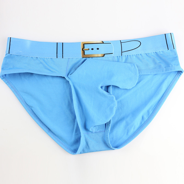 Mens Sexy Cotton Belt Printing Elephant Shaped Pouch Solid Color Briefs Casual Underwear