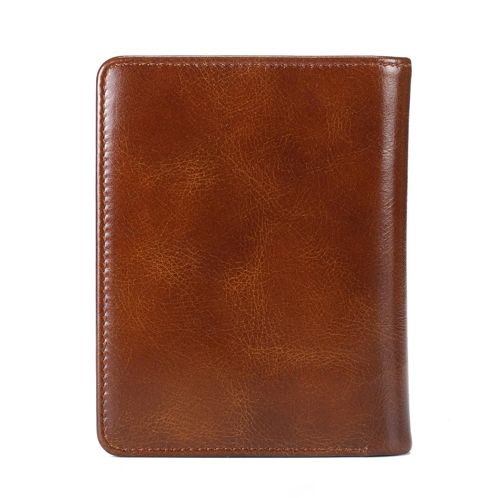 Ekphero Men RFID 8 Card Slots Retro Oil Leather Short Wallet