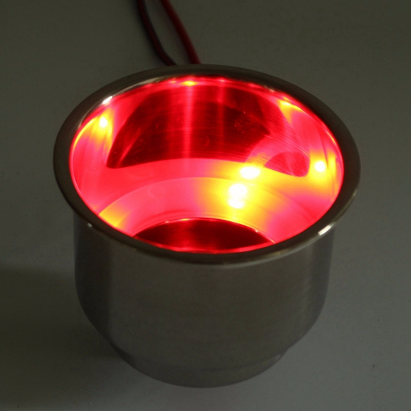 2PCS Red 8LEDs Stainless Steel Cup Drink Holder Marine Boat Car Truck Camper