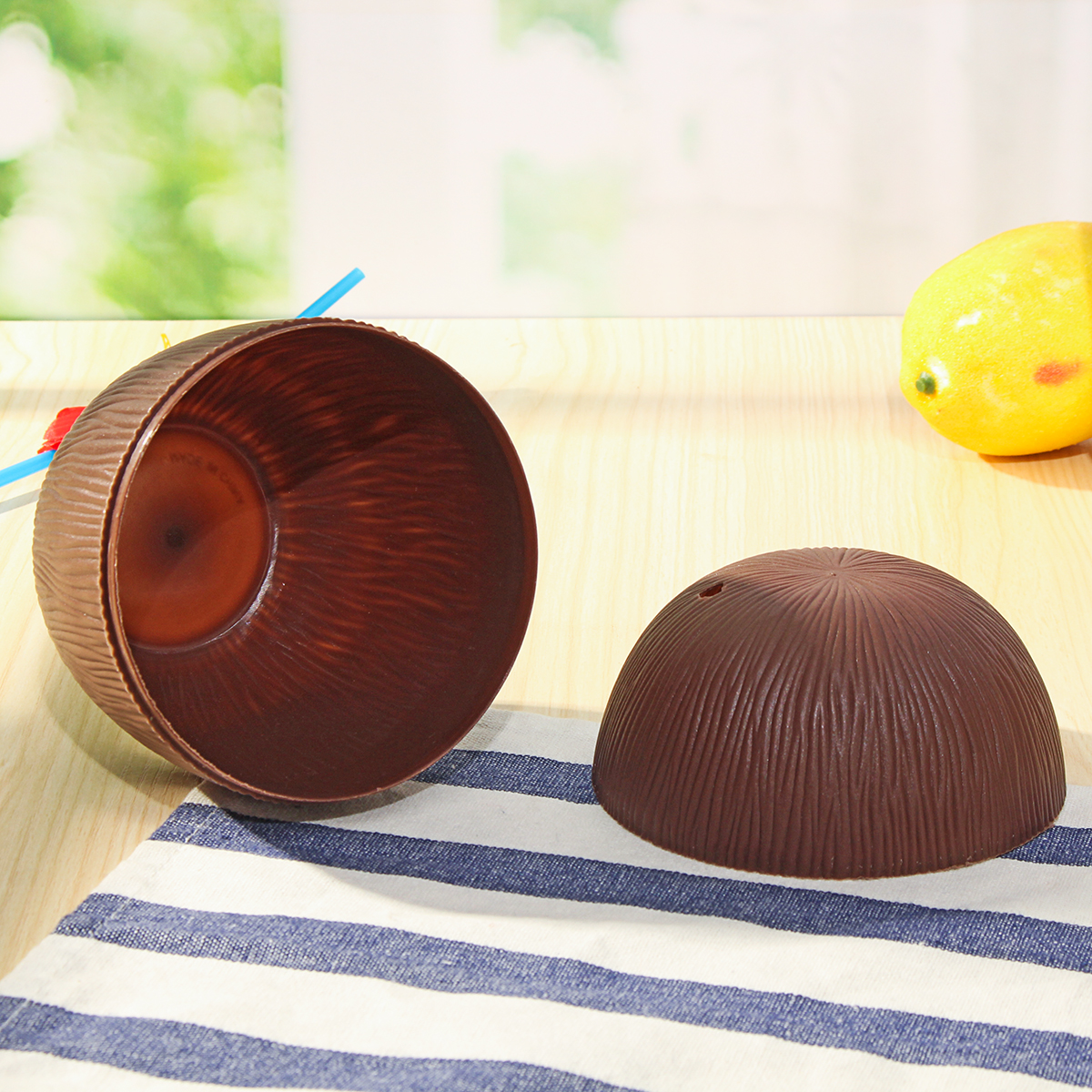 Plastic Tropical Coconut Cup Bottle w/ Straw Summer Hawaii Luau Party Beach Pool Party
