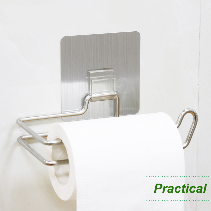 Stainless Steel Paper Shelf Holder Wall Mount Adhesive Nail-free Simple Toilet Paper Towel Holder