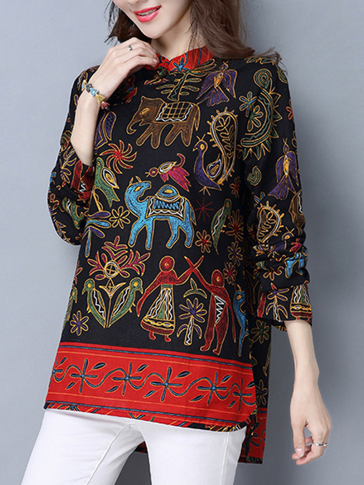 Ethnic Printed Long Sleeve Stand Collar Vintage T-shirts For Women
