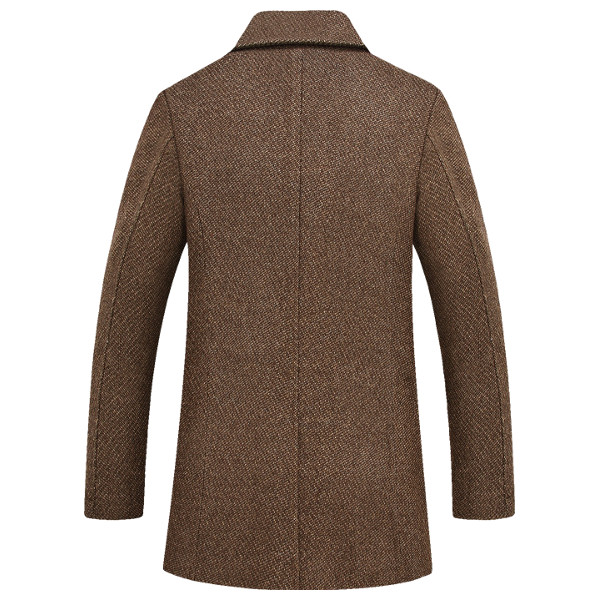 Mens Winter Thick Woolen Blended Double Breasted Trench Coat Turn-down Collar Overcoat