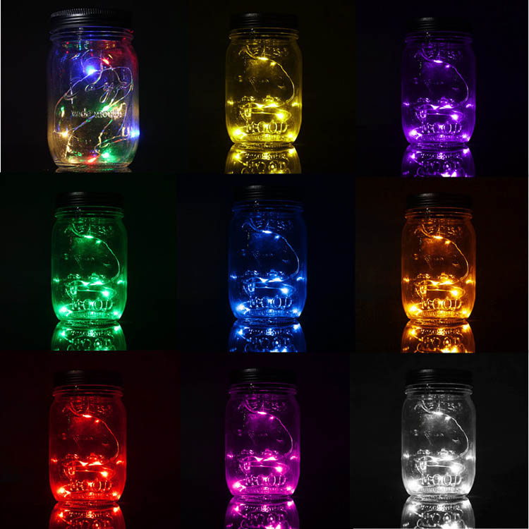 Christmas light Solar Power Hanging Glass Jar Lamp 8 LED Beads Garden Courtyard Landscape Decor Light