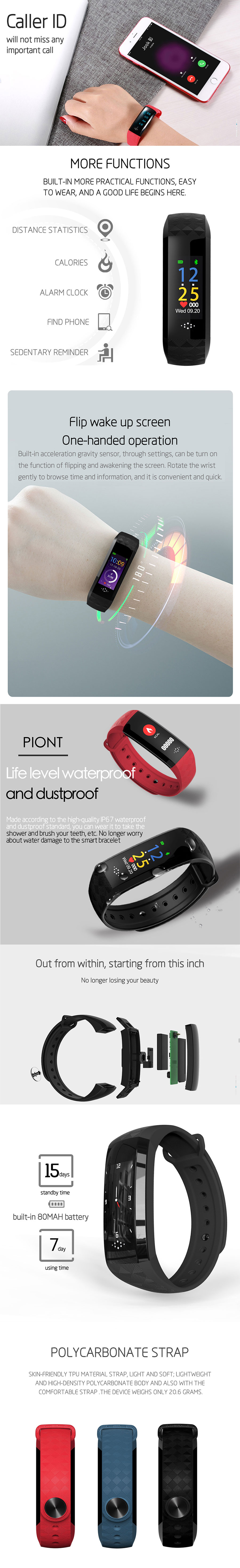 SANDA M12P HR Blood Pressure Exercise Fitness Smart Bracelet
