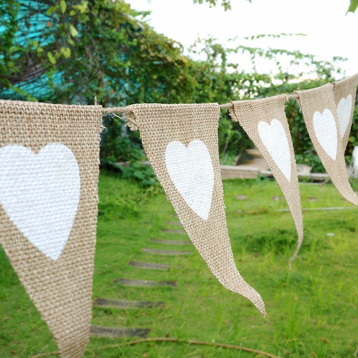 Heart Lace Pattern Hessian Burlap Fabric Rustic Wedding Banner Bunting Vintage Decoration