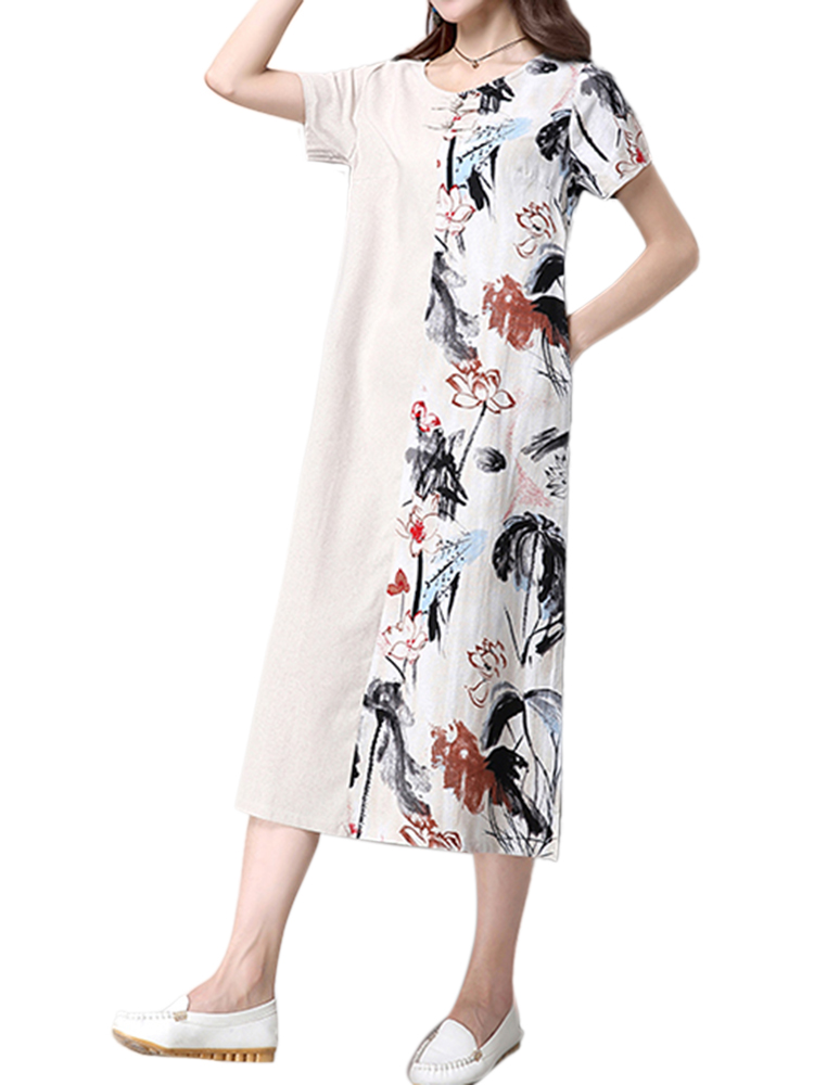 Elegant Women Floral Printed Patchwork Linen Midi Dress