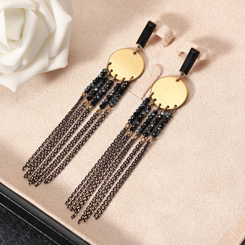 JASSY® Sapphire Long Tassel Earrings Vintage Gold Dangle