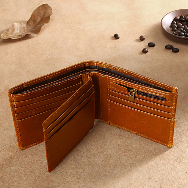 Men Genuine Leather RFID Anti-magnetic Double Fold Wallet