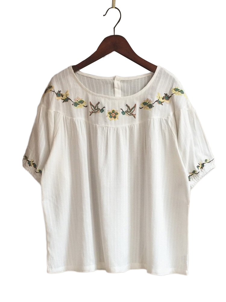 Vintage Floral Embroidery O-neck Short Sleeve Blouse